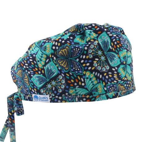 Calot de bloc- bleu marine imprimé papillon - cheveux courts